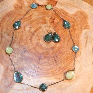 Jewelry - Greens & Blues Necklace & Earrings Set